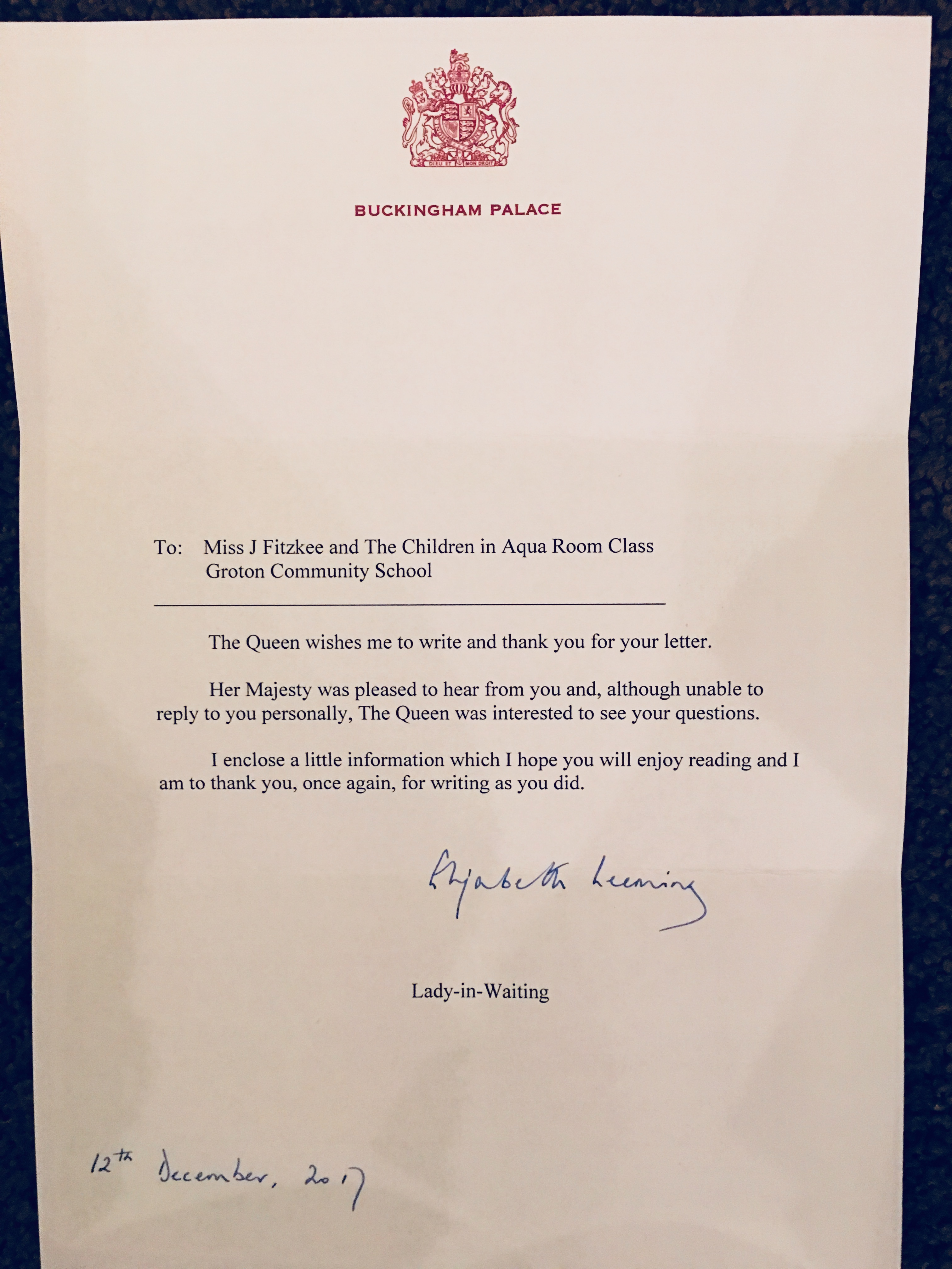 A Letter From Her Majesty the Queen   A Teacher's Reflections